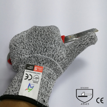 Factory promotion price EN388 certificate hppe kitchen glove level 5 cut resistant work glove