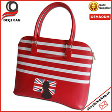 Fancy Hot Dark Red Leather Handbag Stripes Fashion Handbag
