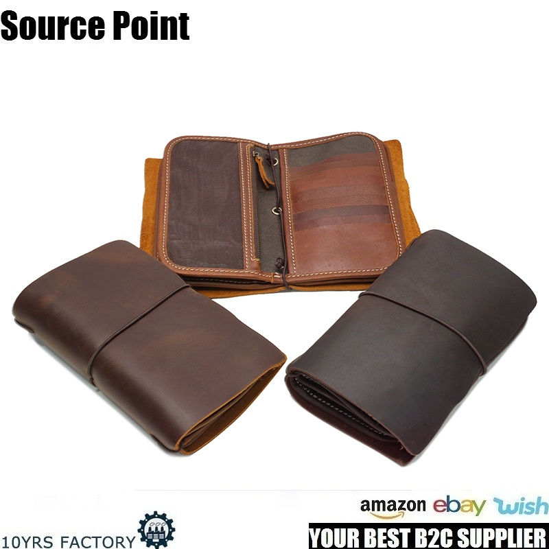 YD-1050 Full grain genuine leather vintage multiple men's bifold card holder wallet