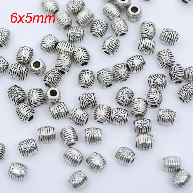 100pcs/lot Tibetan Silver Plated Loose Spacer Beads Metal beads Charms Jewelry Making DIY 10 size to choose
