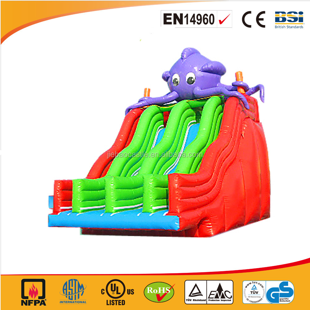 Large Green and RED Octopus inflatable commercial slide for adults and kids