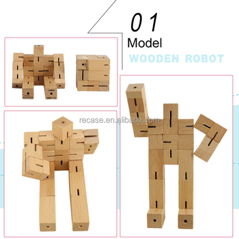 Stock,wooden puzzle gifts wooden robots cube