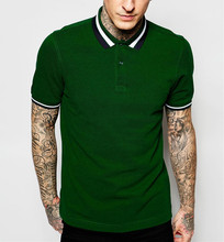 top quality years experience global customers slim fit mens polo collar striped t shirt in green