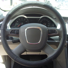 Full Set Punching Leather Carbon Fiber Steering Wheel Cover