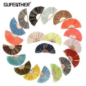 GUFEATHER L139 Tassel jewelry accessories Colorful Fan Cotton Tassel With Golden Clip,2pcs/pack