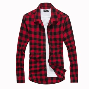 2019 New Collection spring 50% Cotton Check Casual Flannel Long Sleeve Man Plaid Shirt processing services