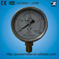 100mm SS material Bottom oil filled gauge 1.6 mpa liquid mercury prices