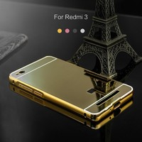 2016 new design mirror pattern folding luxury mobile phone case for redmi 3