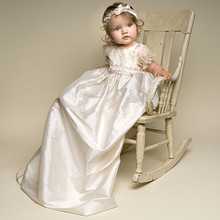 Newborn Baby Girl Dress Solid A-Line Appliques Lace Short Sleeves O-Neck Formal Baptismal Gown Baby Christening Dresses