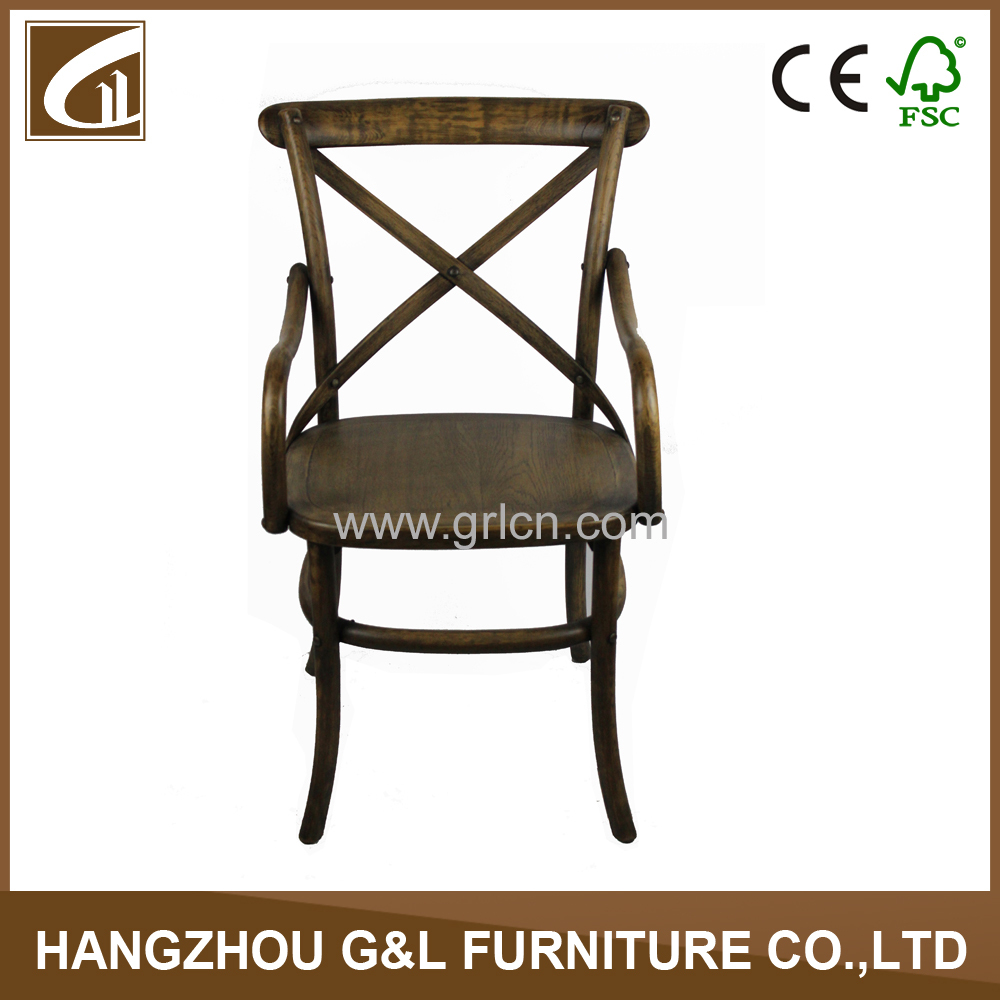 cross back wooden restaurant chair with arm