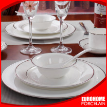 wholesale hotel restaurant wedding custom white gold rim luxury royal fine porcelain bone china ceramic dinnerware