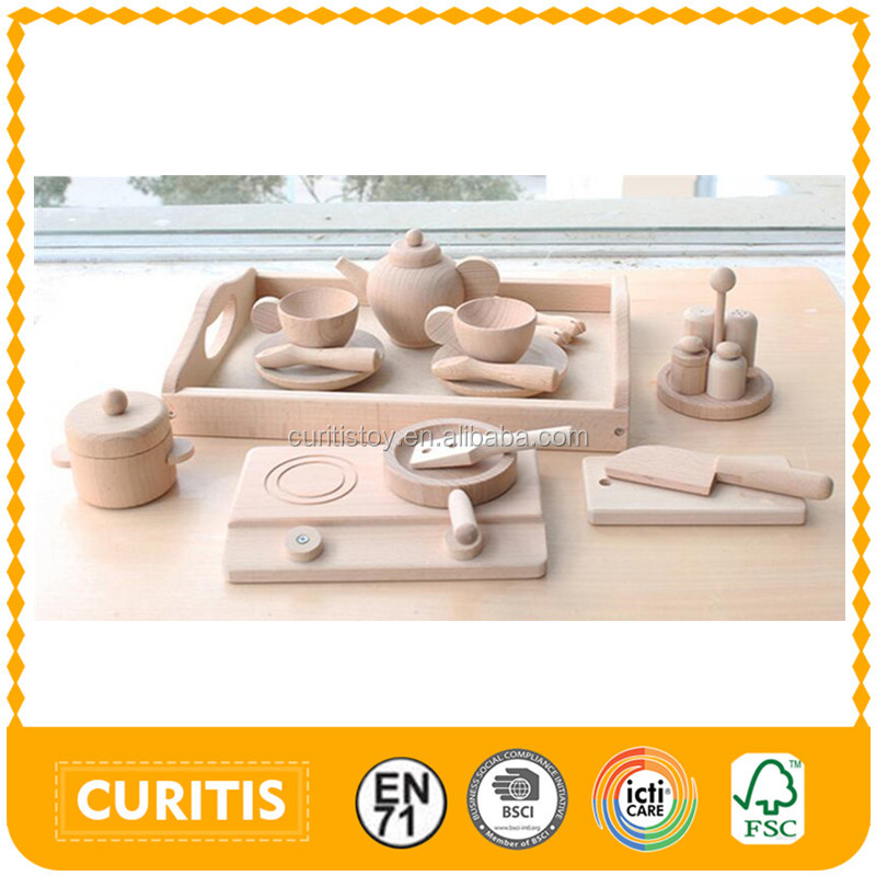 Boy and girls play house toys for children simple green wooden christmas gift Western-style solid wood play baby kitchen set toy