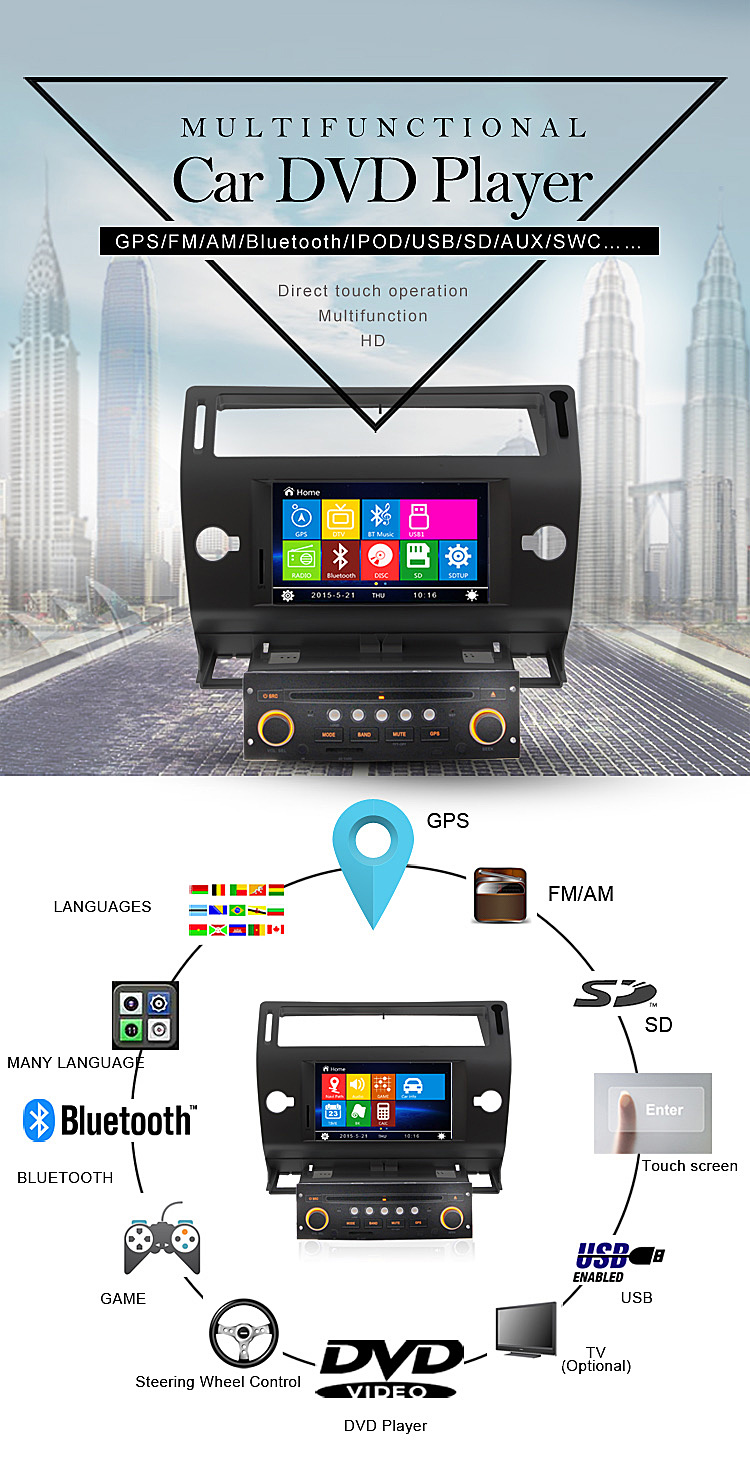 2 Din Touch Screen Car Navigation DVD for Citroen C4 2011