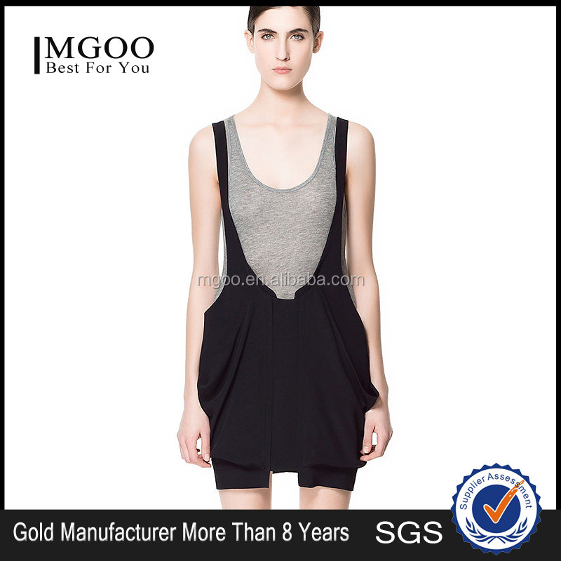 MGOO Cheap China Wholesale Clothing 2015 Women Custom OEM Knitted Black Short Dress Women Casual Sleeveless Dress D103