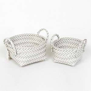 China wholesale hand woven pp straw storage basket with handle