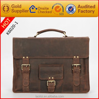 Latest designer leather messenger bag crazy horse carry bag for men free logo customized.