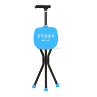 Stable Three Legs Aluminum Alloy Walking Stick with Seat of LED Lamp Handle