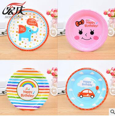 disposable paper plates dish party decoration cake pan cartoon theme birthday party