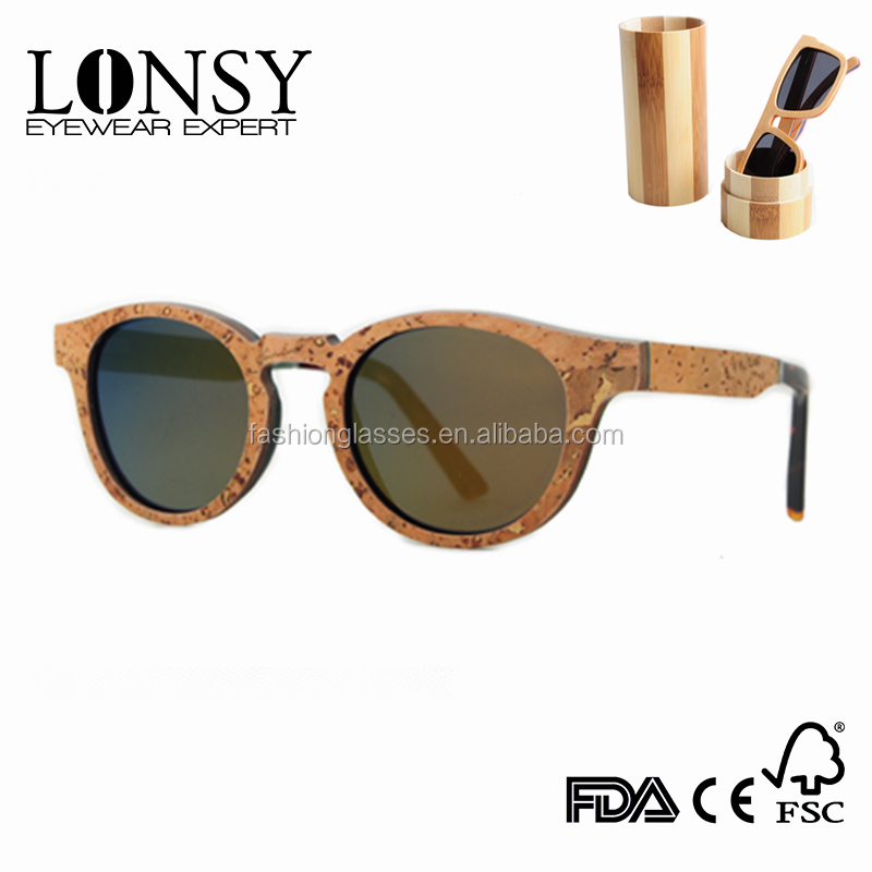 Customized New Material Cork Wood Sunglass Vintage Style Softwood Sunglasses LS2106-C5