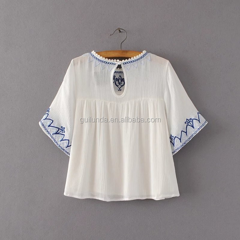 Fashion women apparel beauty embroidered flare sleeve blouses