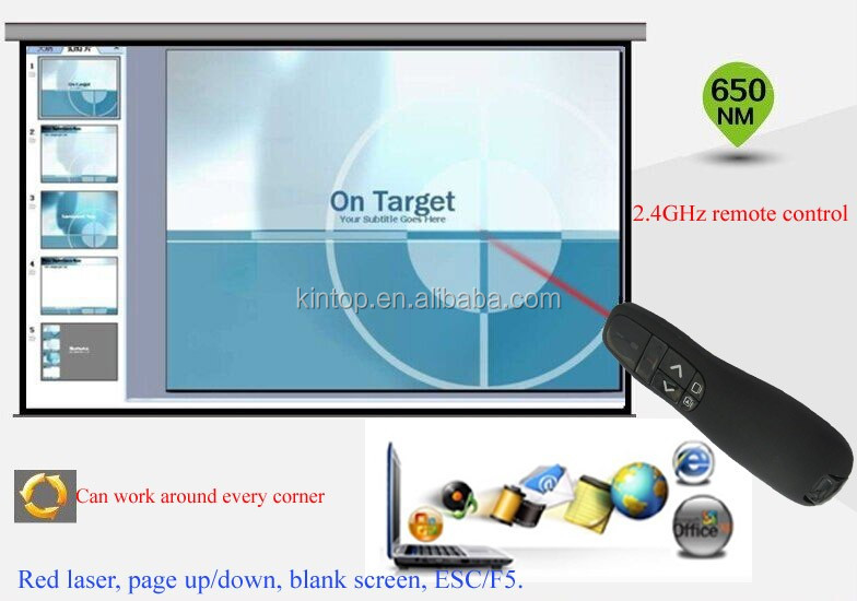 Factory Wholesale Multimedia USB Presentation Remote Control Wireless Presenter with Red Laser Pointers Pen