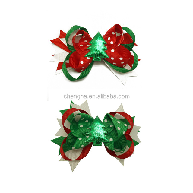 Fancy Christmas Hair Bow 5 Inch Korker Hair Bows for Girls CNHBW-15080307-6