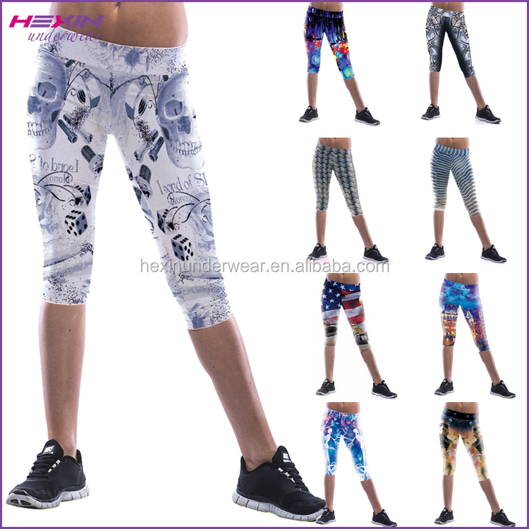 Hexin Skeleton Printed Funky Ladies Fitness Pants Leggings Sport