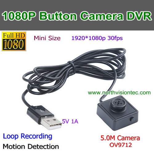 Button size camera 1080P HD Motion Detection Pin hole camera, Button hole camera