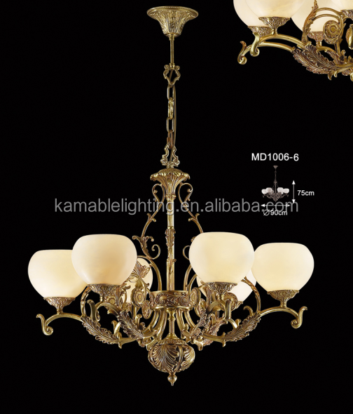 Classical brass marble hanging lamp for house
