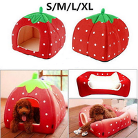 New Arrival Soft Sponge Strawberry Pet Dog Cat Bed Houses Doggy Kennel