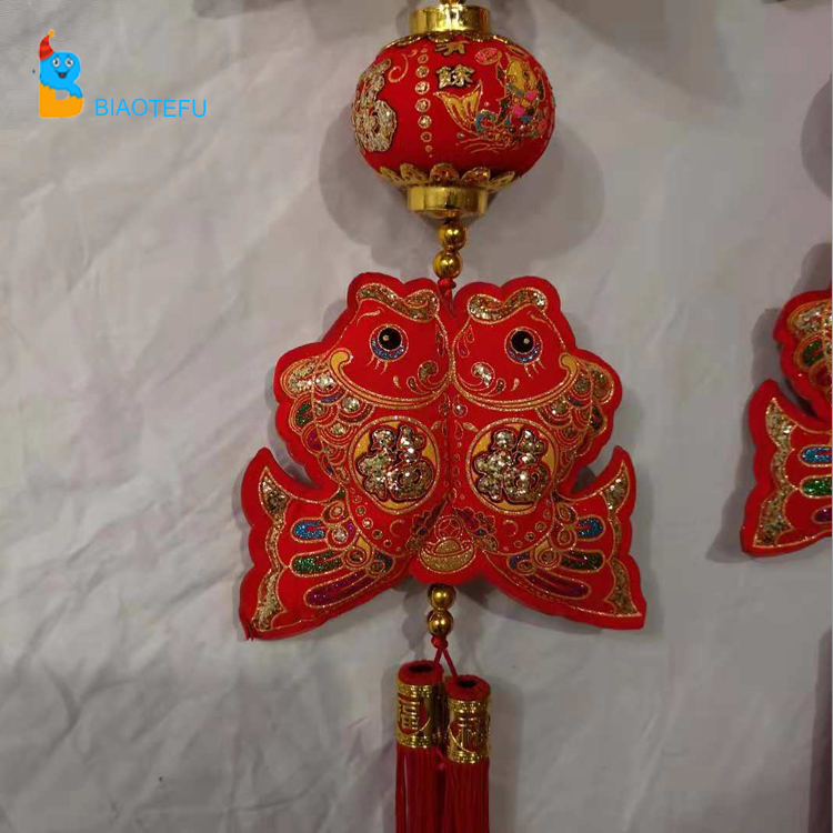 Chinese red double fish lanterns string hangings