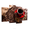 Coffee Cup Painting Printed Canvas 4 Panels Coffee Beans Poster Pictures for Bar Decoration/AL10273