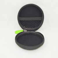 Black Round Mini EVA Cases, Earphone Pouch For In-ear Earphone/Keys/Coins