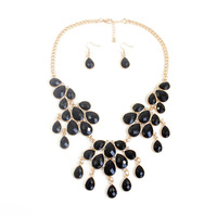 [2 Color Selection] Statement Beads Necklace Mini Teardrop Earring Set