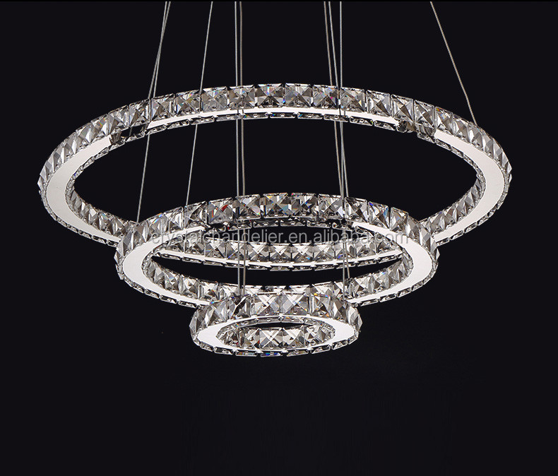 Siljoy Modern Ring Chandelier Lighting Fixtures Clear K9 Crystal Rain Drop DIY Galaxie Pendant Lamp for Dining Room Living Room
