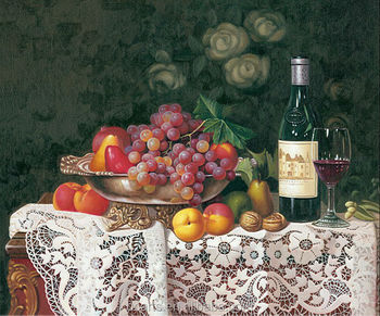 Home goods wall art various of fruits and wine still life digital print canvas