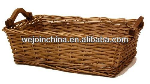 Classic Gold Rectangle Willow Basket with Handles