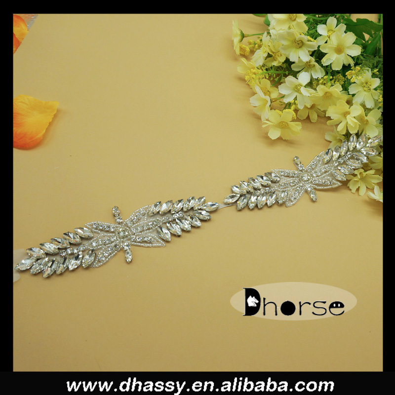 Bridal wedding sew on rhinestone trimming silver crystal rhinestone bride sash DH1965