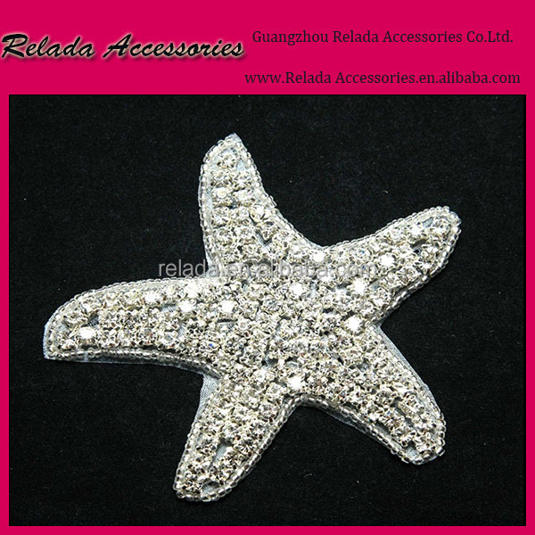 wholesale children clothing crystal embroidery handmade sew on applique &crystal mini star embellished appliques on kids hat