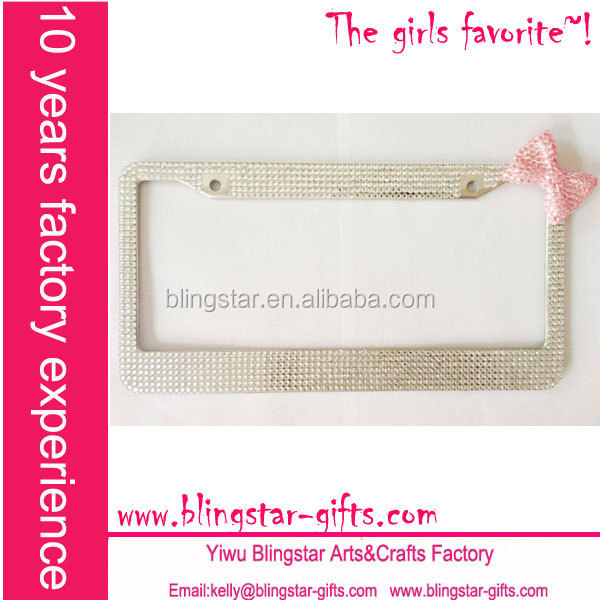 hot selling bow tie rhinestone license plate frame
