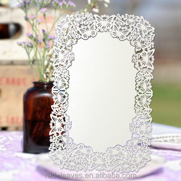 butterfly design hot sale laser cut wedding invitation card table menu card for banquet party