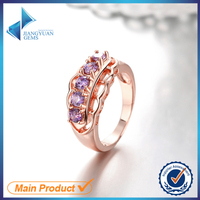 JYSZR0028 Fashion Design Amethyst Zircon Rose Gold Plated Ring Alloy