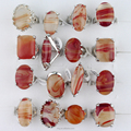 Hot Product Natural Stone Agate Crystal Silver Rings For Women Jewelry