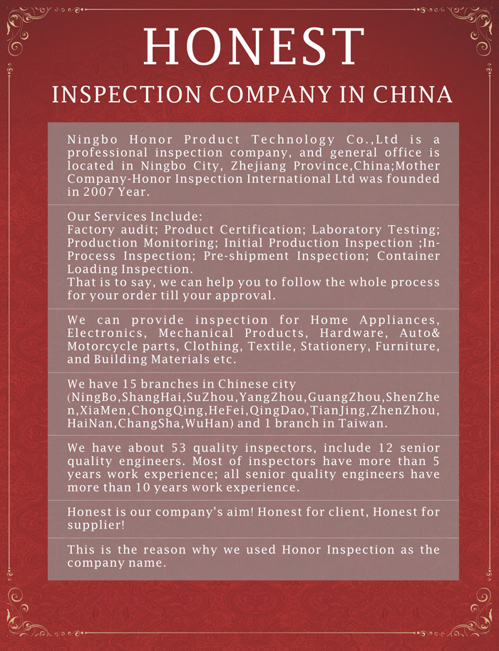 Honor Professional in process inspection in china,in process quality inspection procedure
