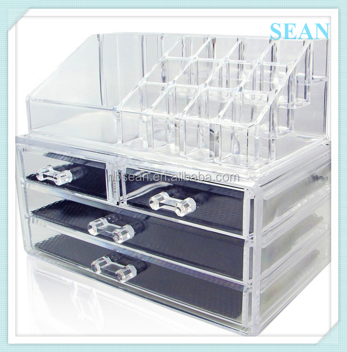 Crystal clear acrylic cosmetic case make up