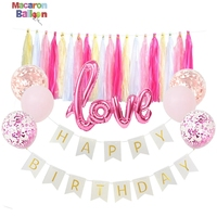 Amazon Good Selling Rose Gold Confetti Balloon with HAPPY BIRTHDAY Flag Garland KK35