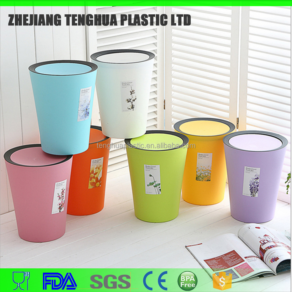 Novelty Colorful Plastic PP Decorative Round Trash Bin Waste Bin for Household