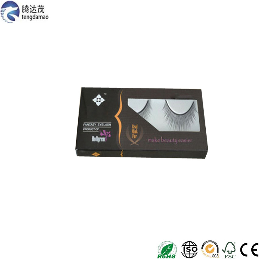 hot sale luxury Accept Custom Order matt Lamination eyelash packaging box with pvc window
