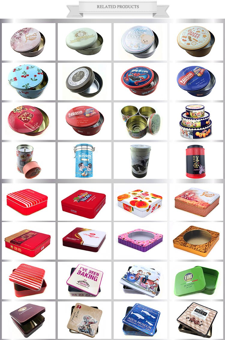 Food-grade wedding candy tin packing with ribbon heart shape tin box for candy