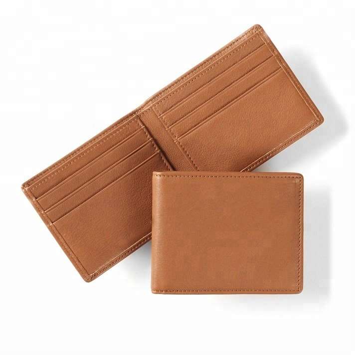 2018 New Style tan color OEM and ODM cowhide genuine leather bifold RFID <strong>wallet</strong> for men